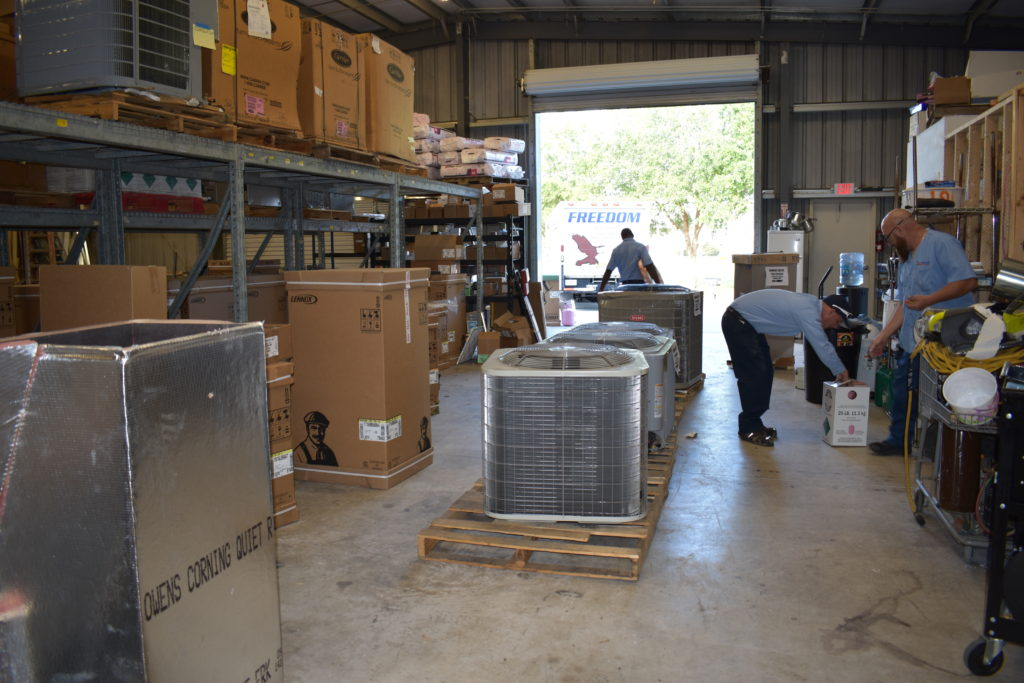 ac and heating units in warehouse
